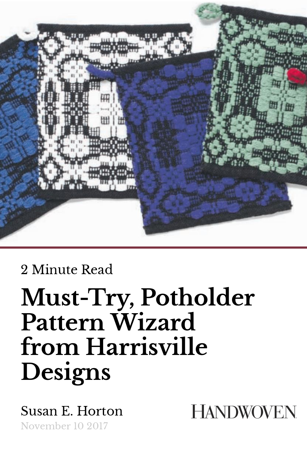 Must Try Potholder Pattern Wizard From Harrisville Designs Handwoven